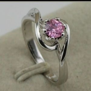New White GF pink cz sz 7.5 ring